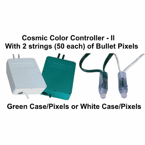 GREEN Cosmic Color Controller II with 2 Strings of 50 Bullet Pixels