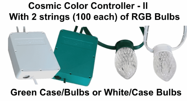 (NEW CCB+) Cosmic Color Controller II with 2 Strings of 100 RGB Bulbs
