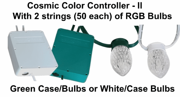 (NEW CCB) Cosmic Color Controller II with 2 Strings of 50 RGB Bulbs