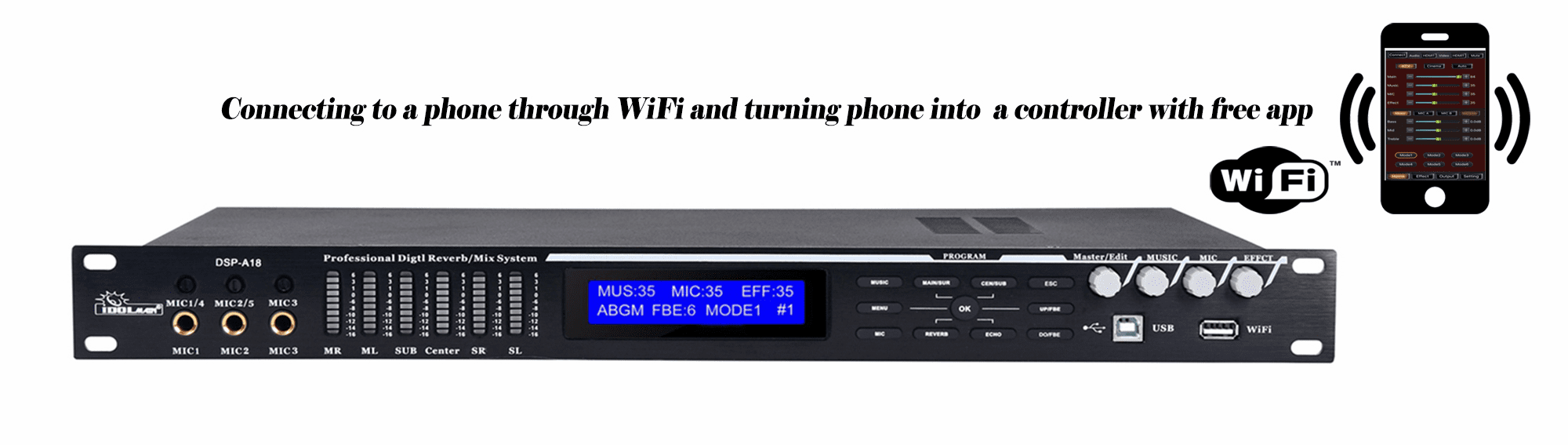 IDOLmain DSP-A18 Professional Multi Effects Karaoke  Processor With Wi-Fi Built-In and Free App