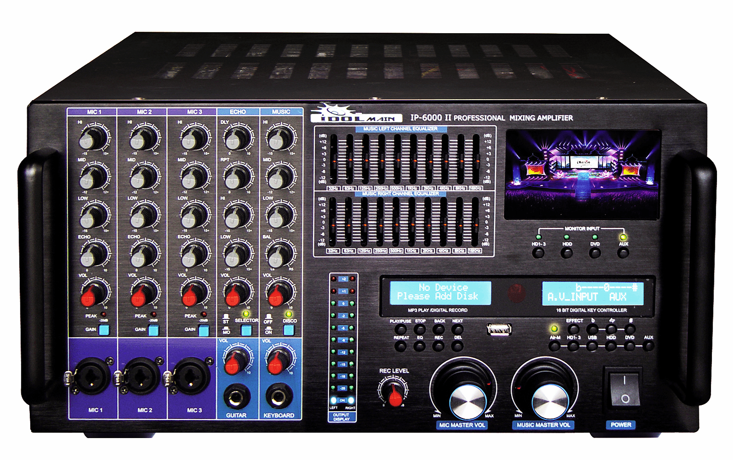 IDOLmain IP-6000 II Bluetooth/HDMI/Recording/LCD Screen/10 Band Equalizer  8000W Professional Console Mixing Amplifier