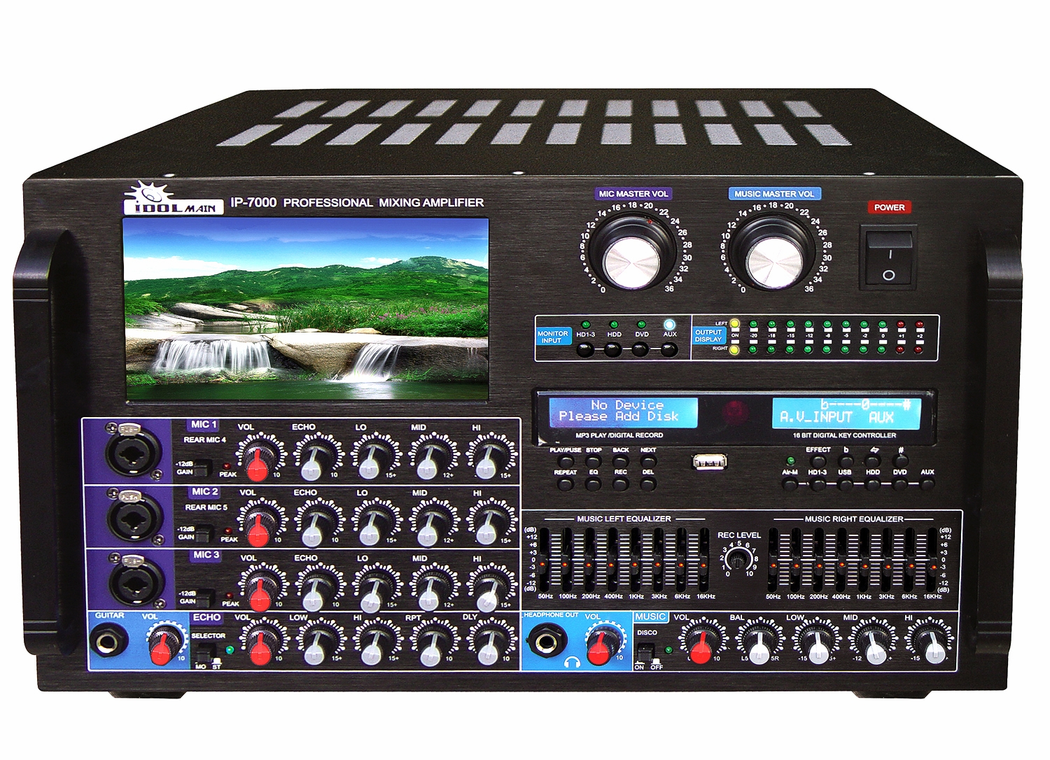"IDOLmain IP-7000 8000W Max Output Professional Digital Console Mixing Amplifier With 7"" LCD Monitor Built-In <font color="" orange""><b>Discontinued </b></font>"
