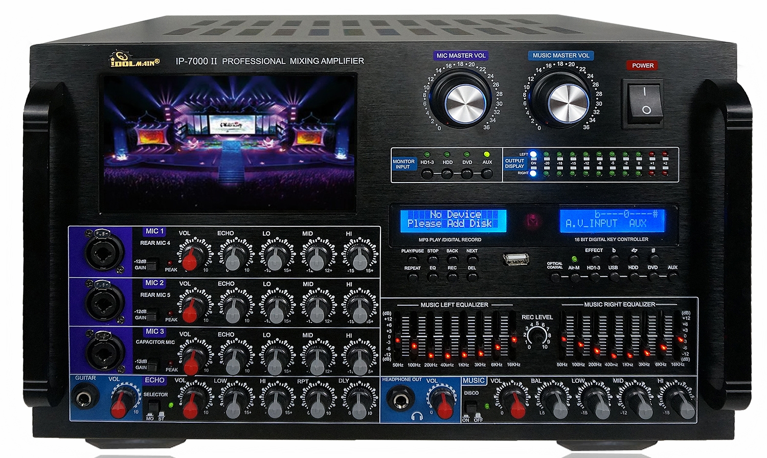 "IDOLmain IP-7000 II 8000W Max Output Professional Digital Console Mixing Amplifier With 7"" LCD Screen Monitor Built-In, Headphone Out, Recording, Guitar Level Control & Digital Optical Input  <font color="" orange""><b>Discontinued - Replaced with IP-7500 </b></font>"