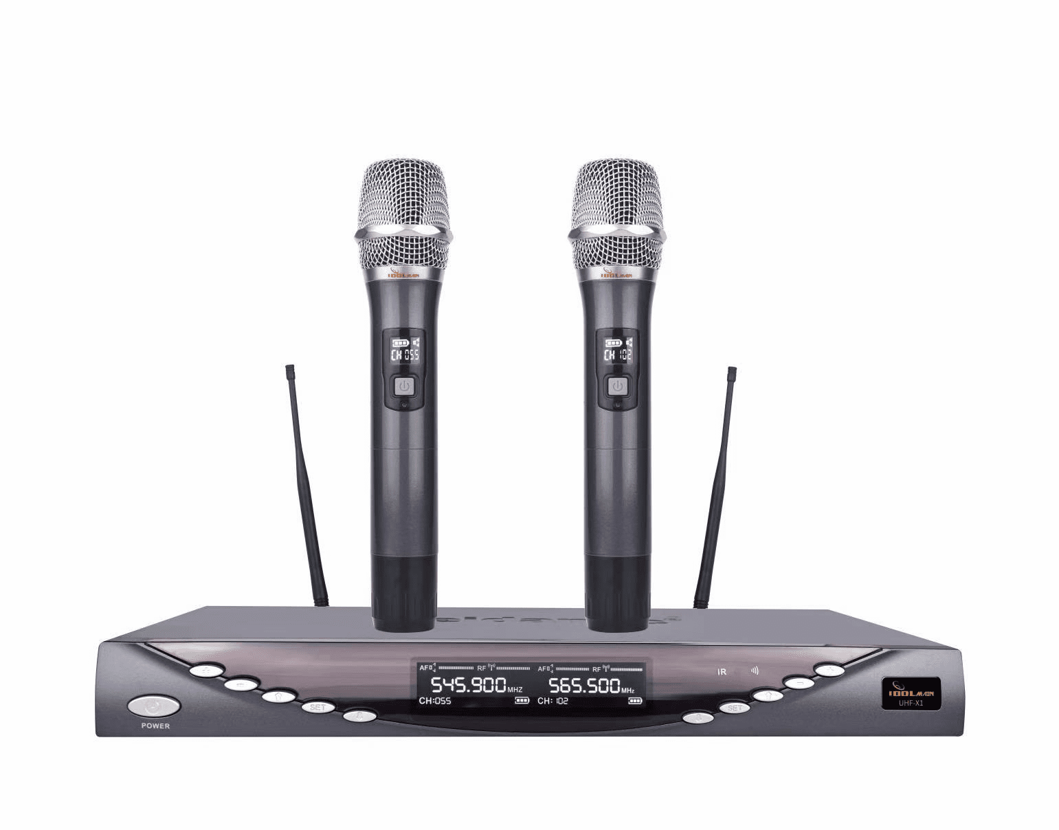 IDOLmain UHF-X1 Professional Performance With Anti Feedback,Ultra Low Distortion, and No-Touch Frequency Scanning with Digital Pilot Technology Dual Wireless Microphone System