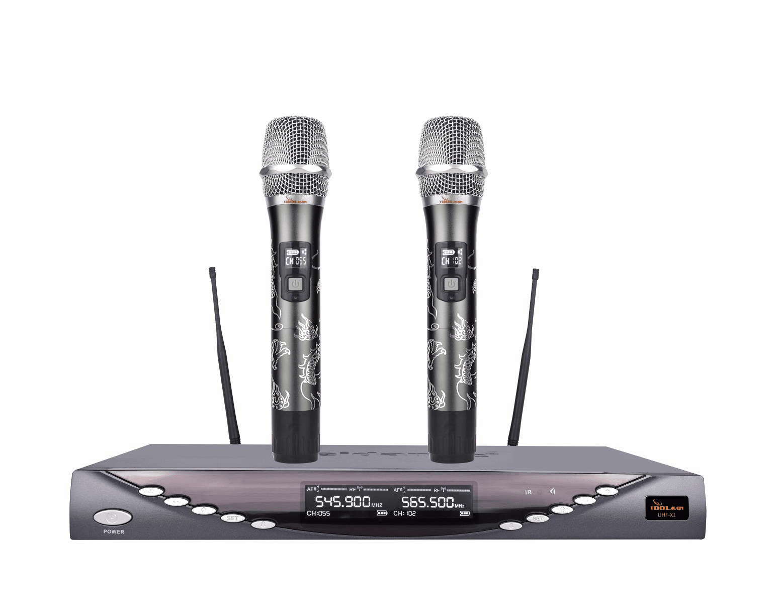 IDOLmain UHF-X1D Dragon Engraved-Limited Edition Professional Performance With Anti Feedback,Ultra Low Distortion, and No-Touch Frequency Scanning With  Digital Pilot Technology Dual Wireless Microphone System