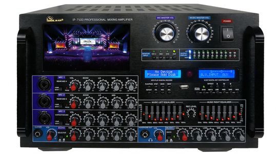 "IDOLmain IP-7500 8000W Max Output Professional Digital Console Mixing Amplifier With 7"" LCD Screen Monitor Built-In, Bluetooth, Recording, Guitar Level Control & Digital Optical/ Coaxial Input, HDMI,8 Bands Equalizer  <font color="" orange""><b>NEW & IMPROVED 2020</b></font>"