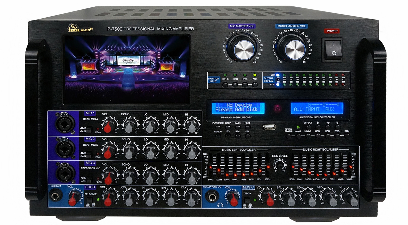 "IDOLmain IP-7500 8000W Max Output Professional Digital Console Mixing Amplifier With 7"" LCD Screen Monitor Built-In, Bluetooth, Recording, Guitar Level Control & Digital Optical/ Coaxial Input, HDMI,8 Bands Equalizer <font color="" orange""><b> NEW 2020 - Improved</b></font>"