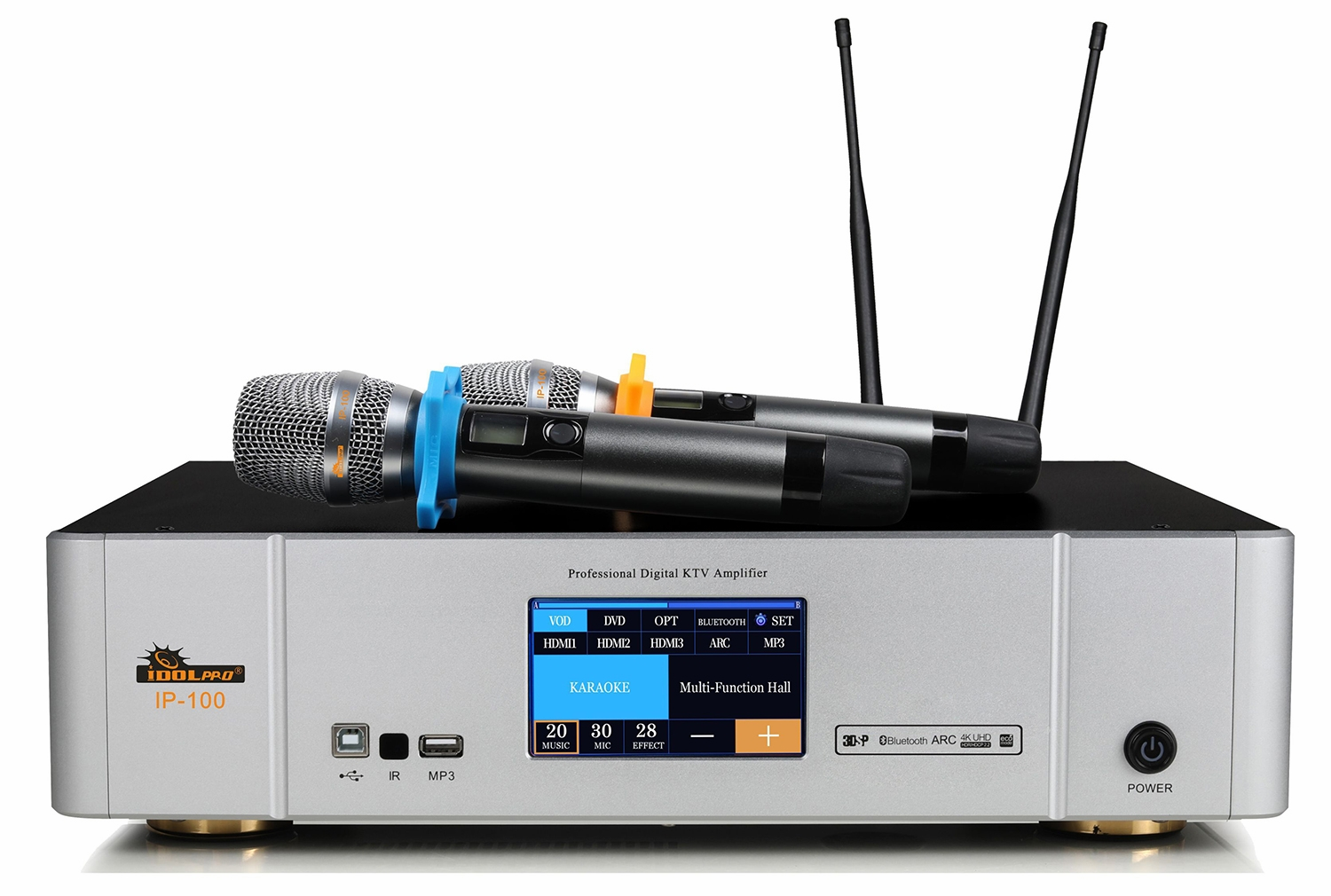 "IDOlpro IP-100  Touch Screen Monitor Professional Digital Amplifier Equipped With Dual Wireless Microphones, DSP Sound Professor, Optical/HDMI/Bluetooth/Sub Output <b><font color="" orange"">NEW 2021 </font> </b>"