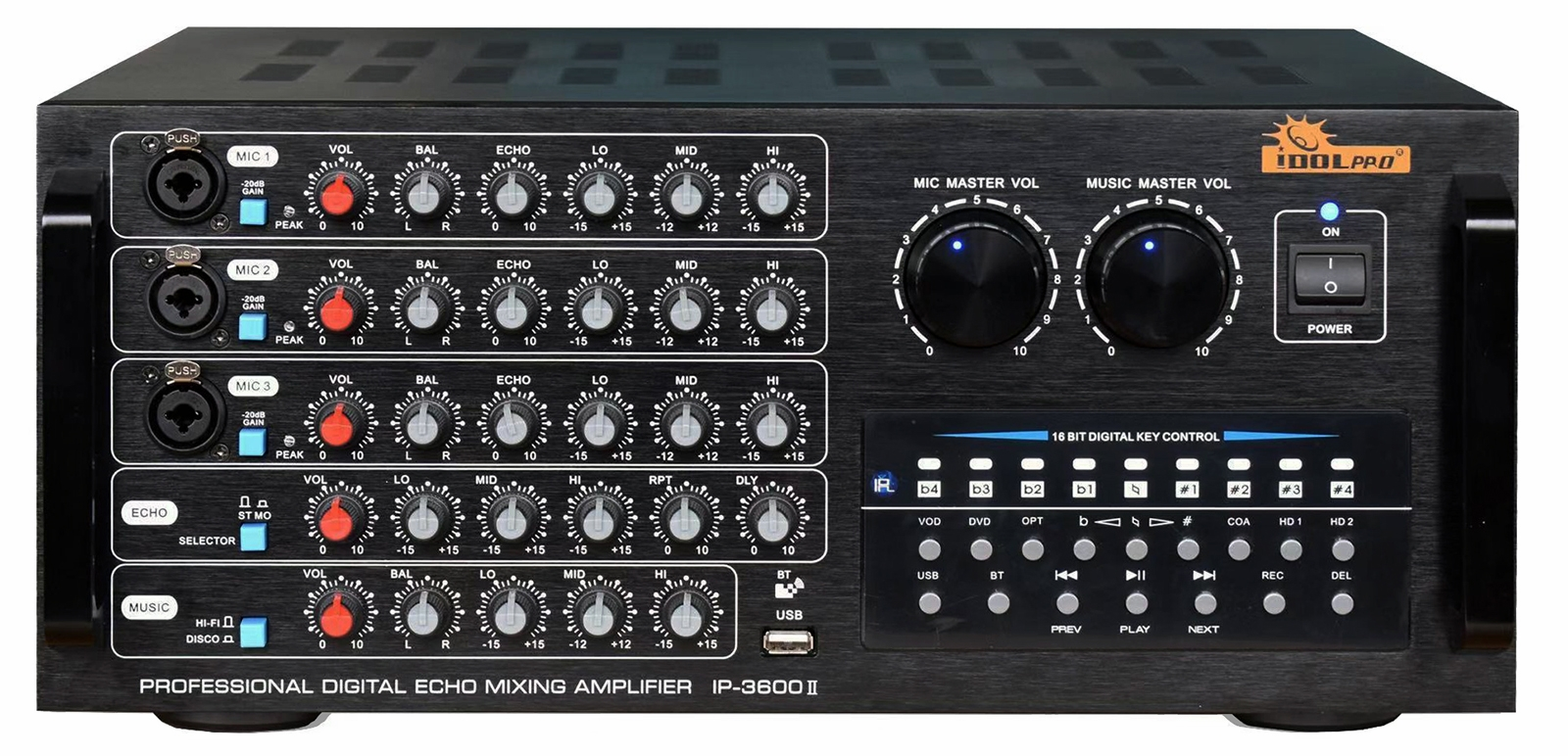 "IDOlpro IP-3600 II 1300W Mixing Amplifier  With Bluetooth, Recording, Optical/HDMI/Coaxial Inputs <font color="" orange""><b>NEW & IMPROVED 2020</b></font>"