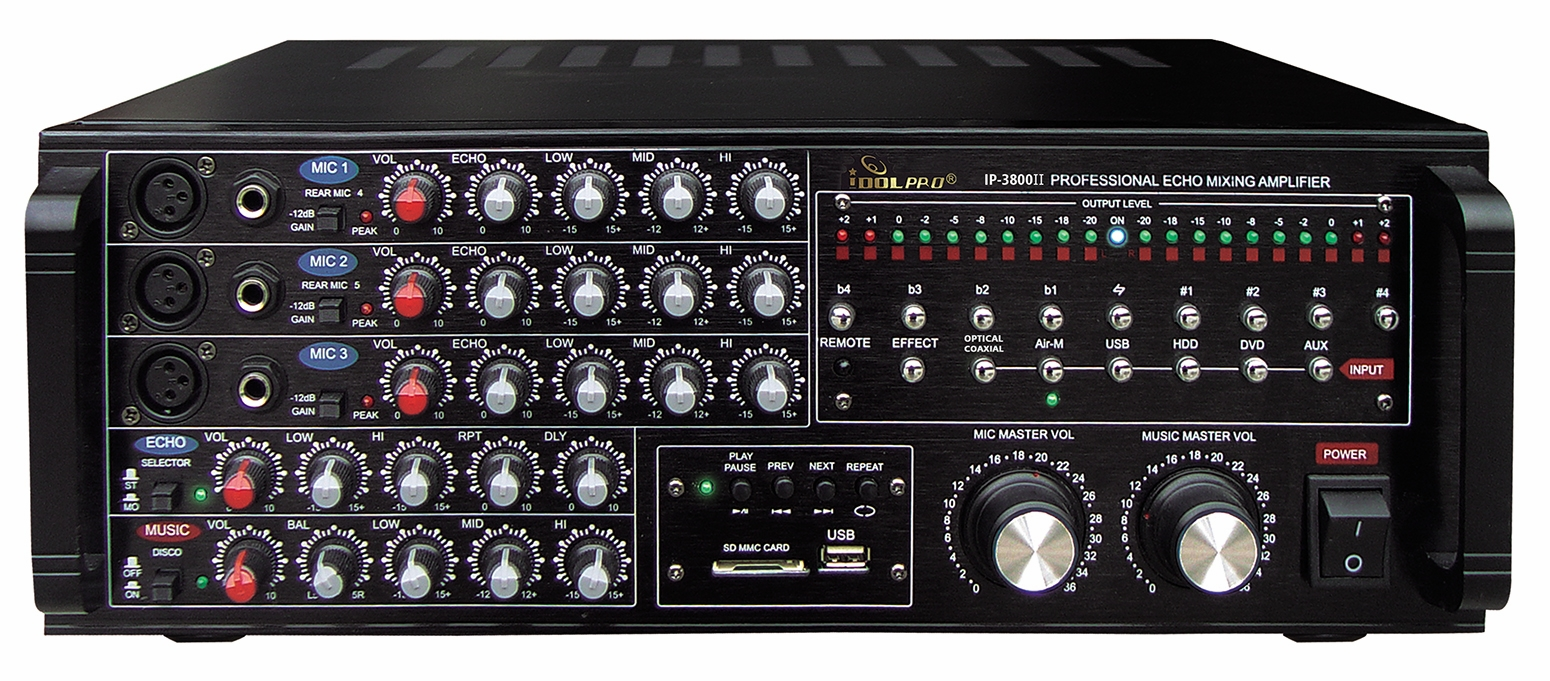 "IDOLpro IP-3800 II 1300W Professional Digital Echo Mixing Amplifier With Optical Input,Separate Repeat & Delay Control  <font color="" orange""><b>NEW & IMPROVED 2020</b></font>"