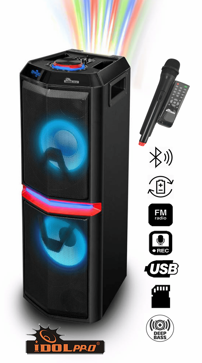 "IDOlpro IPS-DJ01 Wireless Compact Portable Powerful PA Karaoke System With Bluetooth, Wireless Microphone, Rechargeable Battery, USB & SD Readers, FM Radio, 3.5mm AUX Input and Multi Flashing LED Light <font color="" orange"">Discontinued </font>"