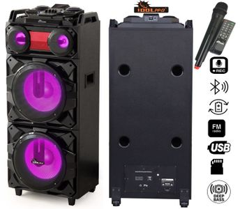 "IDOLpro IPS-DJ02 Portable Wireless PA High-Power Karaoke Entertainment System W/ Bluetooth, Rechargeable Battery, Dual Loud Active-Powered Speakers & 12"" Woofers, Wireless Microphone, Multi Front LED Lights <font color="" orange"">Discontinued </font>"