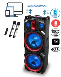 "IDOLmain IPS-DJ03 Portable Wireless PA High-Power Karaoke Entertainment System & DJ Sound Selection W/  Double Bluetooth, Rechargeable Battery, Dual Loud Speakers & 12"" Subwoofers, 2 Wireless Microphones, Multi Front LED Lights <font color="" orange""><b>NEW 2019</b></font>"