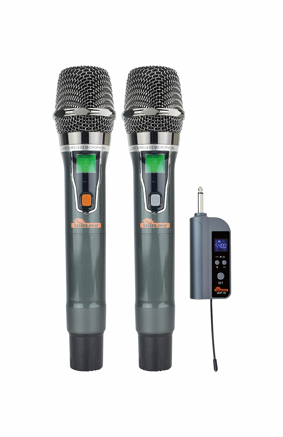 """IDOLpro UHF-10 Dual Wireless Microphone Set With Rechargeable Receiver <b><font color="""" orange"""">NEW 2021 </font> </b>"""