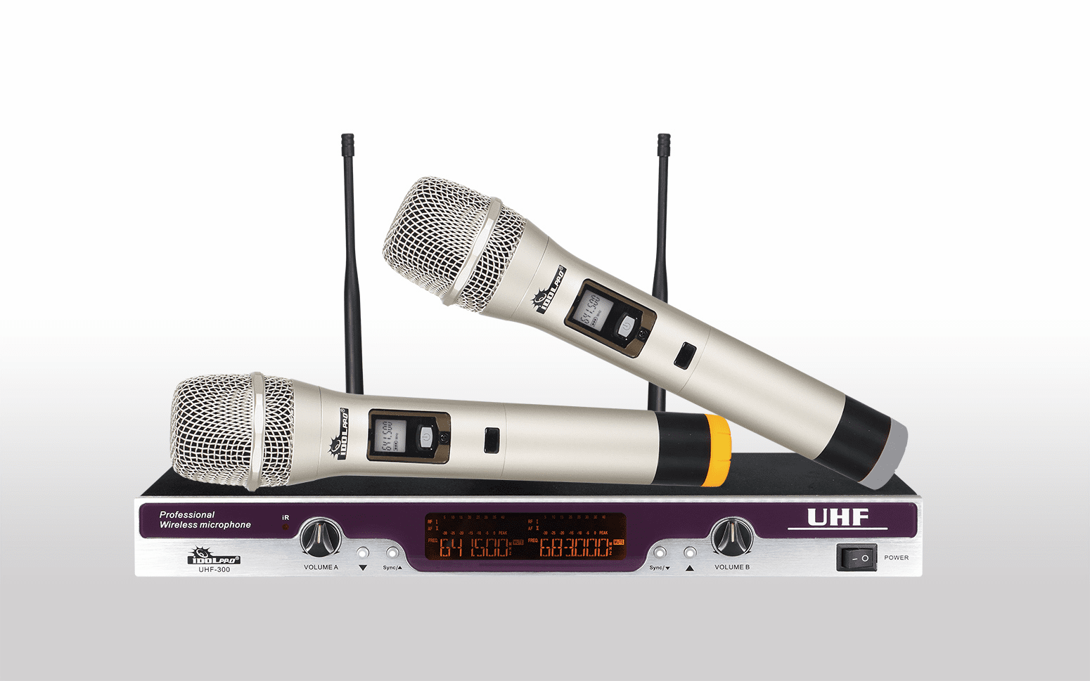 "IDOLpro UHF-300 SILVER Limited Edition Professional Performance Dual Wireless Microphone System <font color="" orange"">Discontinued </font>"