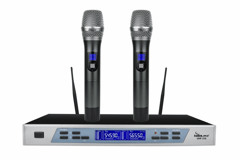 "IDOLpro UHF-310 Professional Intelligent Dual Wireless Auto Noise Cancellation Microphone System <font color="" orange""><b>NEW 2019 </b></font>"