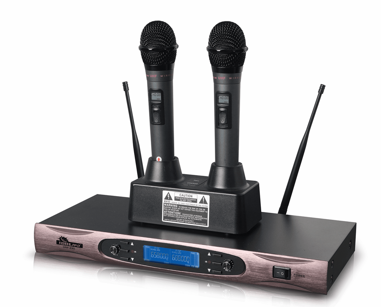 IDOLpro UHF-330 Dual Rechargeable Professional Wireless Microphones