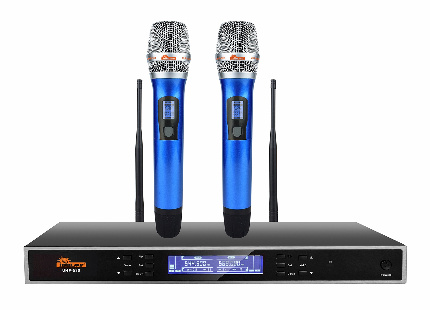 "IDOLpro UHF-530 Advanced Technology Automatic Mute And Shut Down Dual Wireless Microphones  <b><font color="" orange"">NEW 2021 </font> </b>"