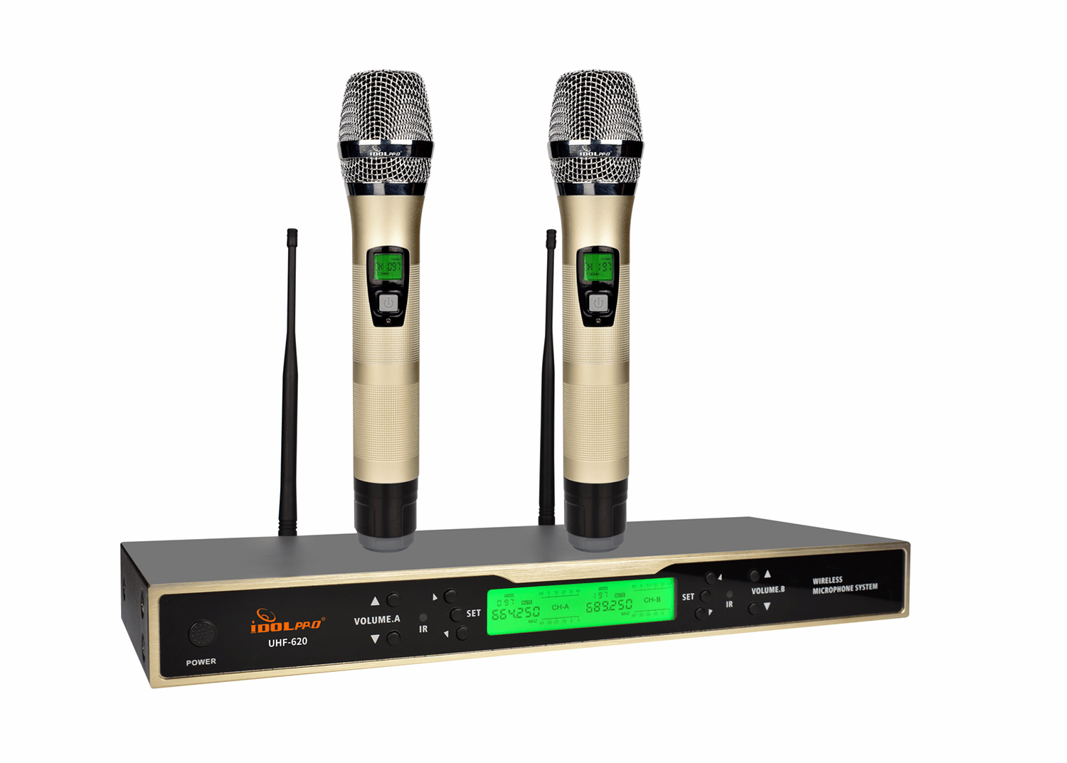 IDOLPRO UHF-620 Dual Channel Wireless Microphones With New Digital Technology