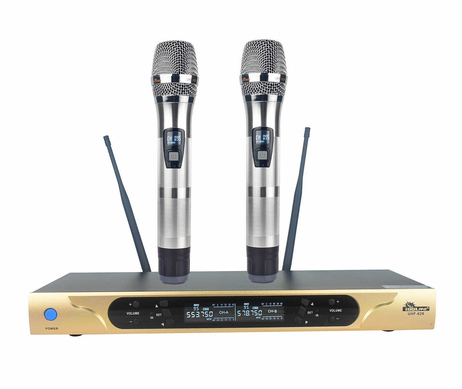 "IDOLpro UHF-626 Dual Channel Wireless Microphones With New Digital Technology <font color="" orange""><b>NEW 2020</b></font>"