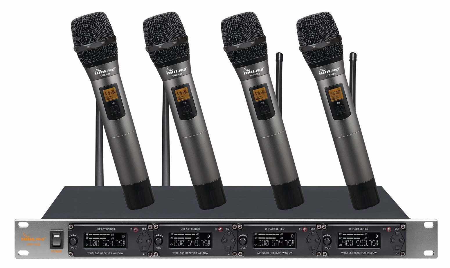 "IDOLpro UHF-668 Professional 4 Channel Wireless With Options Of Handhelds, Lavaliers or Headsets With New Digital Pilot Technology & Vocal Support Microphone System <font color="" orange""><b>NEW 2019 </b></font>"