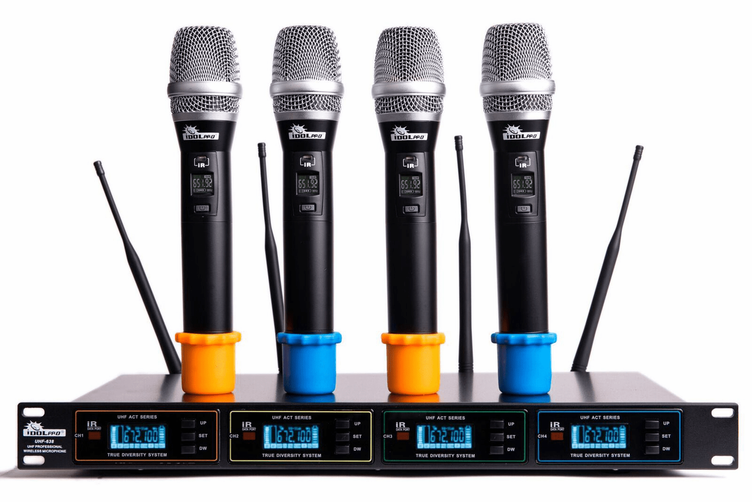 "IDOLproUHF-638 Professional 4 Channel Wireless Infrared Auto-Scanning Interference Eliminator Microphone System <font color="" orange"">Discontinued </font>"