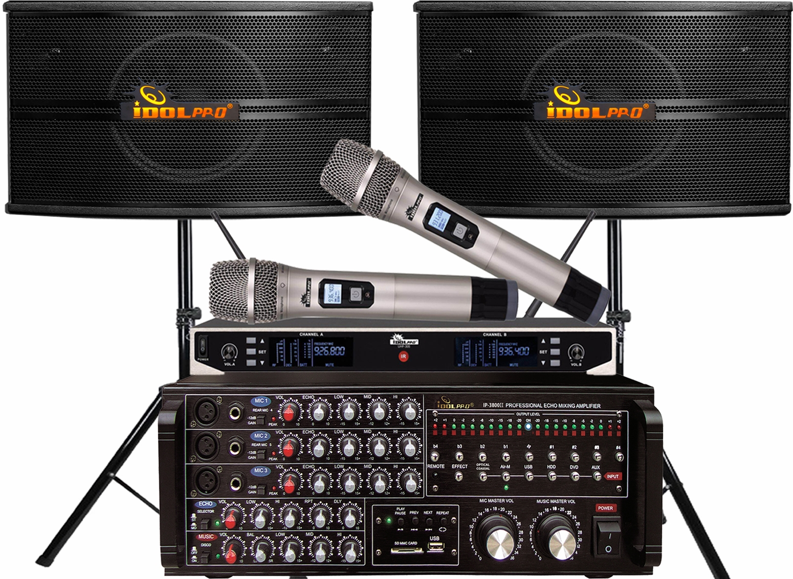 "<font color="" blue"">PACKAGE 1 </font> -- IPS-590 Speakers & IP-3800 II Mixing Amplifier & UHF-305 Wireless Microphones & Stands"
