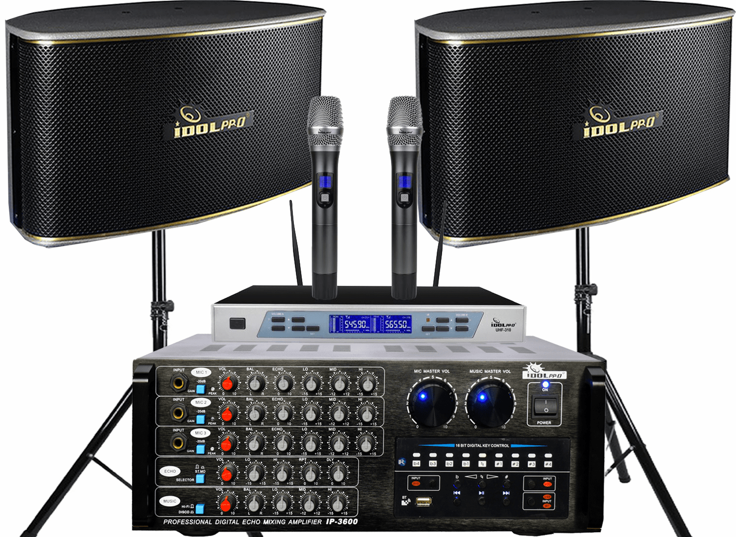 "<font color="" blue"">PACKAGE 1 </font> -- IPS-630 Speakers & IP-3600 Mixing Amplifier & UHF-310 Wireless Microphones & Stands"