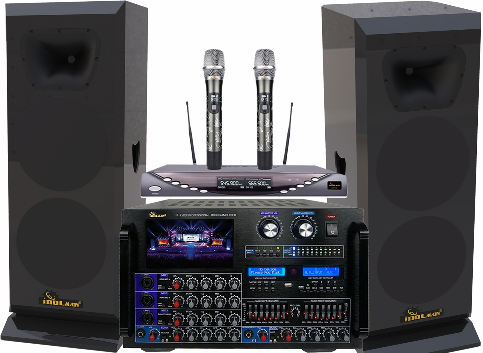"<font color="" blue"">PACKAGE 10</font>--IDOLmain 3000W High-End Floorstanding Speakers With 8000W Professional Mixing Amplifier & Dual Wireless Microphones"