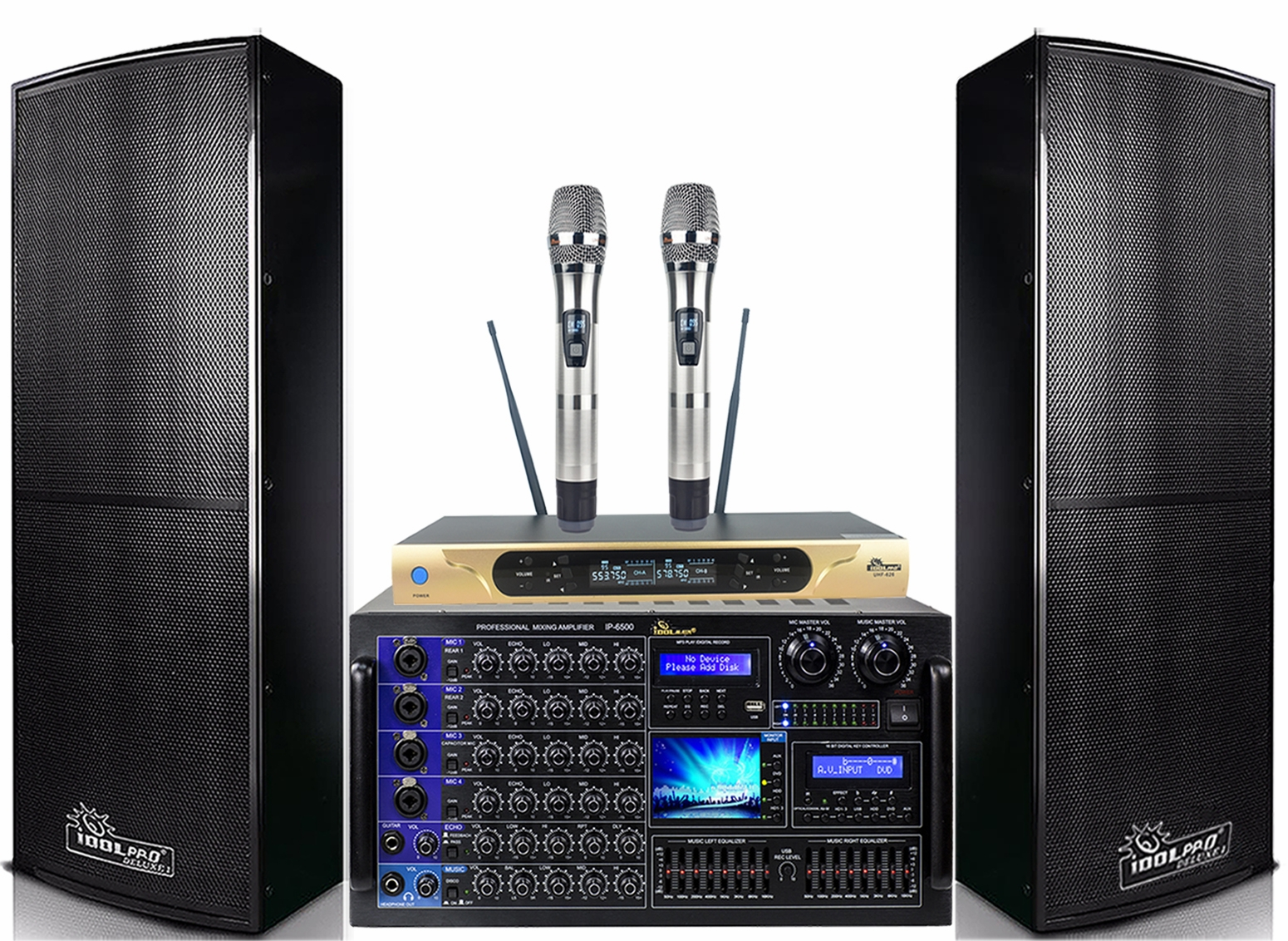 "<font color="" blue"">PACKAGE 4 </font> -- IPS-DELUXE I Speakers & IP-6500 Mixing Amplifier & UHF-626 Wireless Microphones"