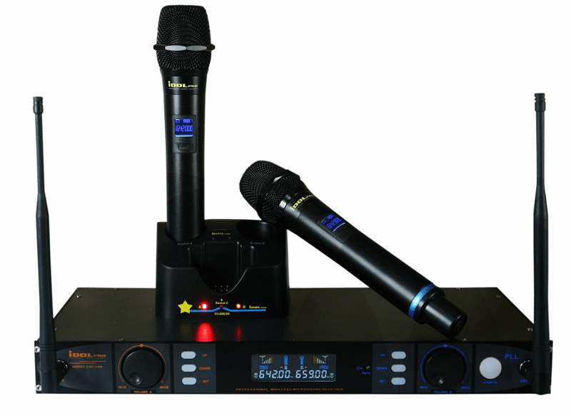 "UHF-398  Rechargeable Channel Selecting Dual Wireless Microphones  <font color="" orange""> Discontinued</font>"