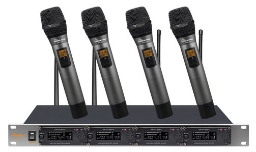 IDOLpro UHF-668 Professional 4 Channel Wireless With Options Of Handhelds, Lavaliers or Headsets With New Digital Pilot Technology & Vocal Support Microphone System