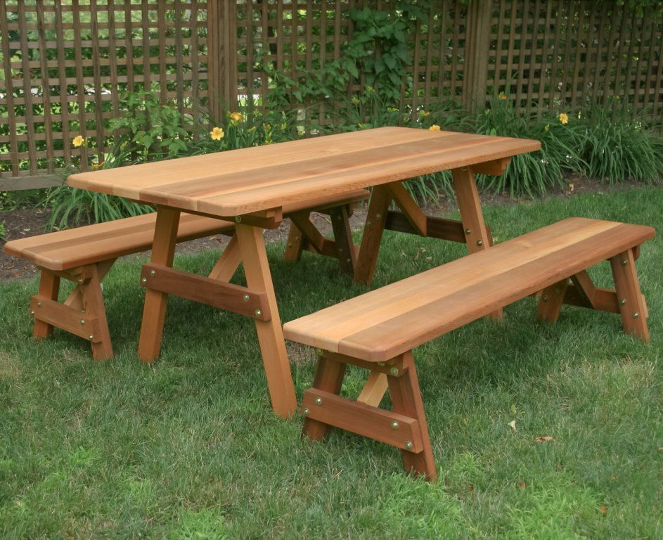 Cedar Wood Classic Family Picnic Table Set With Benches