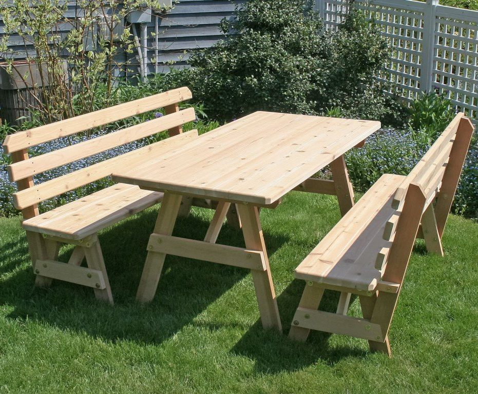 Terrific 32 Wide Classic Family Picnic Table Set With Backed Benches Cedar Spiritservingveterans Wood Chair Design Ideas Spiritservingveteransorg