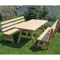 "32"" Wide Classic Family Picnic Table Set with Backed Benches - Cedar"