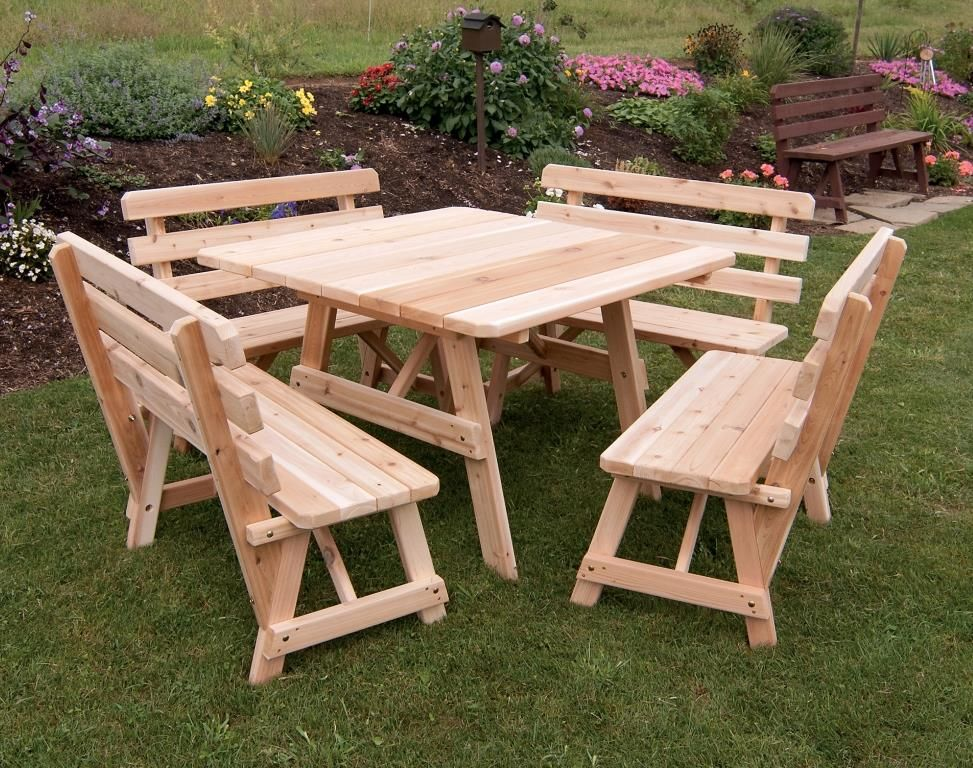Astonishing 43 Traditional Cedar Square Table With Four Backed Benches Download Free Architecture Designs Scobabritishbridgeorg