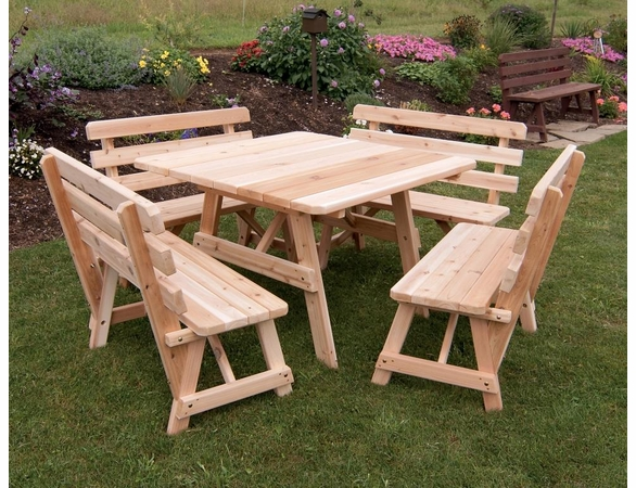 "43"" Traditional Cedar Square Table with Four Backed Benches"
