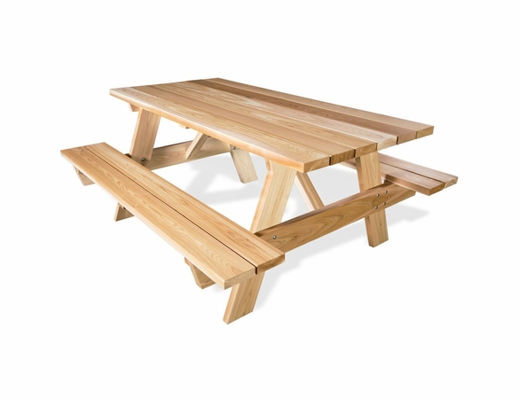 6' Cedar Picnic Table w/ Attached Benches Kit - Available to Ship End of July