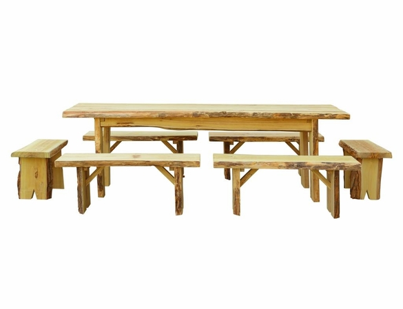 8ft Autumnwood Table Set with 6 Wildwood Benches