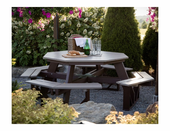 "Berlin Gardens Resin 86"" Octagon Picnic Table"