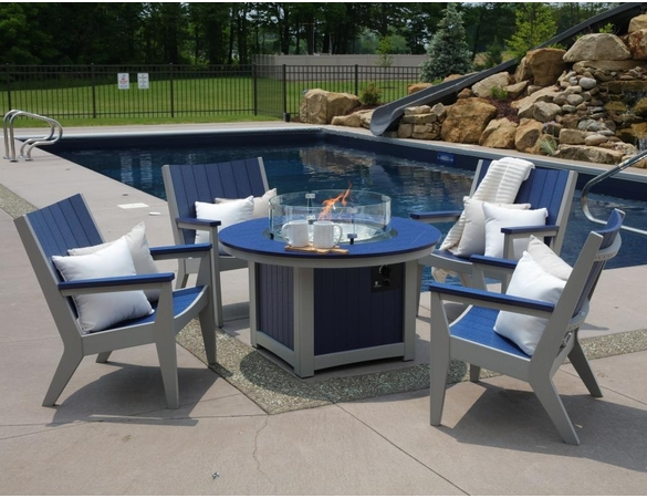 Berlin Gardens Resin Donoma Round Fire Pit 4 Chair Chat Set