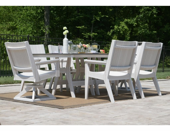 Berlin Gardens Resin Mayhew 44 In X 72 In Rectangular 6 Seat Hammered Chat Dining Set