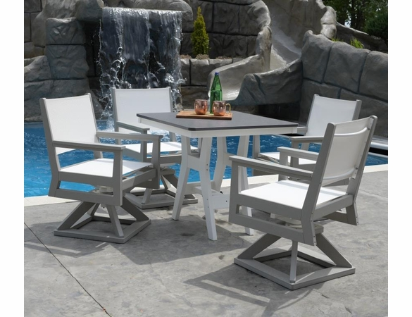 Berlin Gardens Resin Mayhew Sling 28 In Square 4 Seat Hammered Dining Set