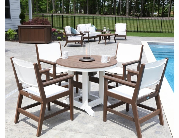 Berlin Gardens Resin Mayhew Sling 38 In Round 4 Seat Dining Table Set