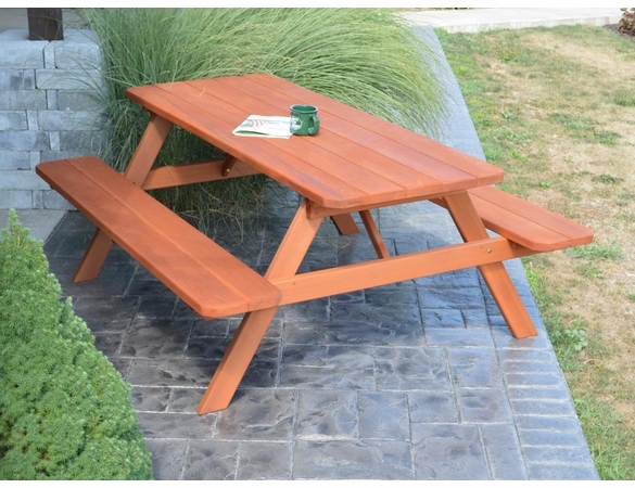 Cedar Picnic Table with Attached Benches  (4', 5', 6', or 8')