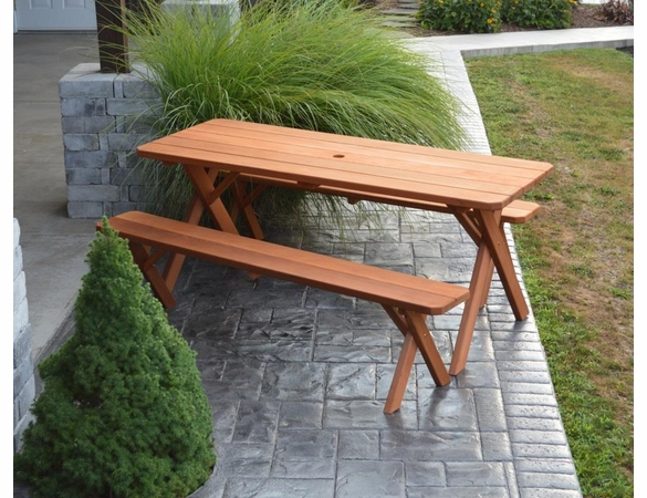 Cross-legged Cedar Picnic Table with Two Benches (4', 5', 6', or 8')