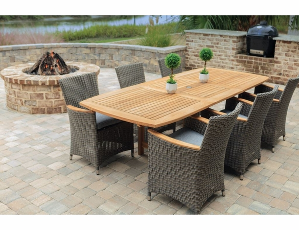 "Royal Teak Family 72"" - 96"" Rectanular Expansion Table with 6 Helena Wicker Chair - Unavailable 'til Mid July"