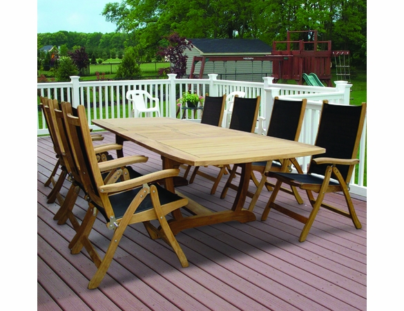 "Royal Teak Gala 84"" - 102"" - 120"" Expansion Table with 8 Florida Sling Chairs - Unavailable 'til Mid July"
