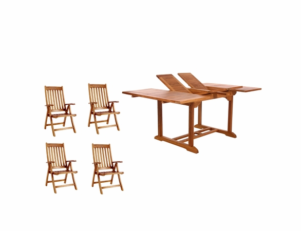 Java Teak 5 Piece Butterfly Double Extension Table Folding Arm Chair Dining Set - Available to Ship End of May