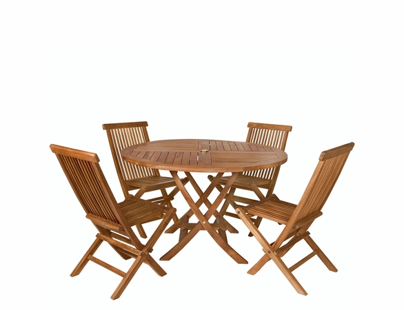 Java Teak 5 Piece Folding Table Set - Available to Ship End May/Beginning June